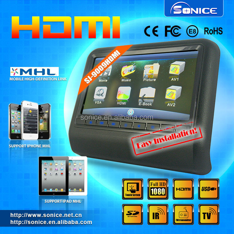 Touch screen detachable 9 inch headrest monitor with HDMI