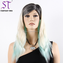 Long Water Wave Black Roots Blond Hair Colored Custom Made Beautiful Heat Resistant Synthetic Hair Boutique Window Display Wig