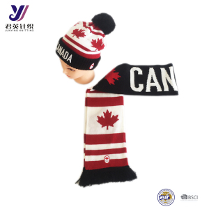JYT0F1 Fashion Canadian maple leaf knitting scarf+ hats + gloves sets (can be customized)