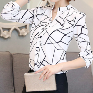 Chiffon Summer Blouses Women's Shirts Top 2018 Spring Female Ladies Blusas Long Sleeved V Collar Blouse Chiffon Plus Size