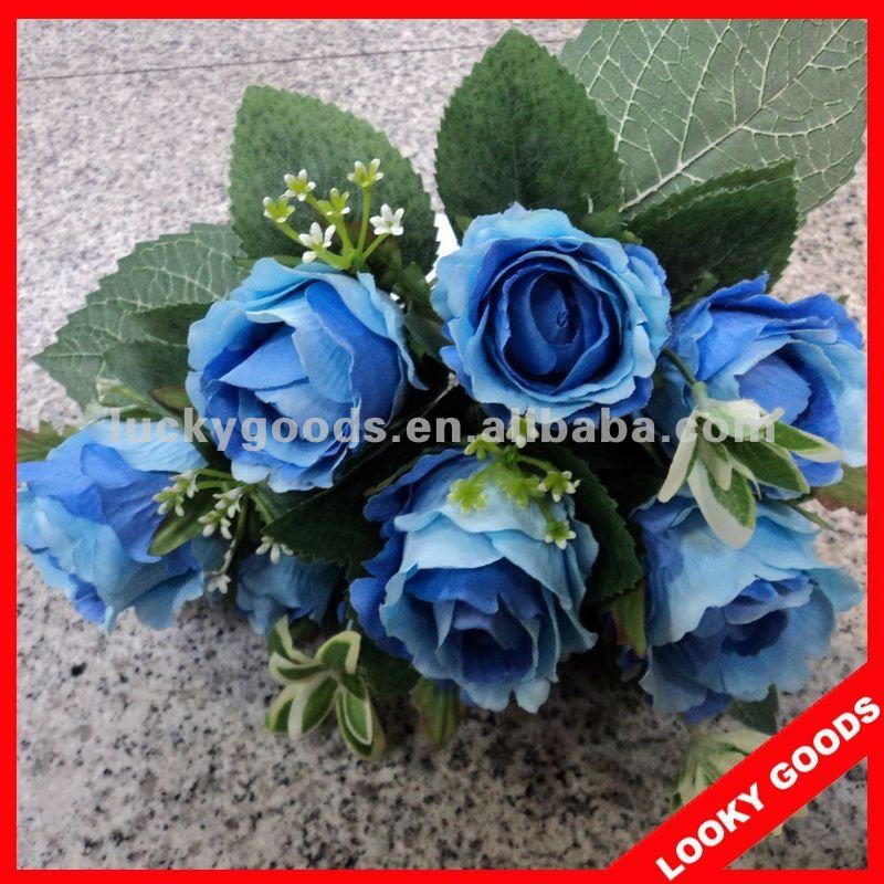 blue rose artificial flower bouquet,fake flowers wedding bouquet