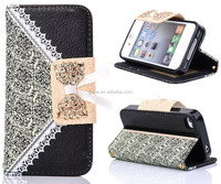 Cute Bow Magnetic PU Leather Wallet Full Body Protector For Nokia Lumia 1320 PU Leather Flip Case
