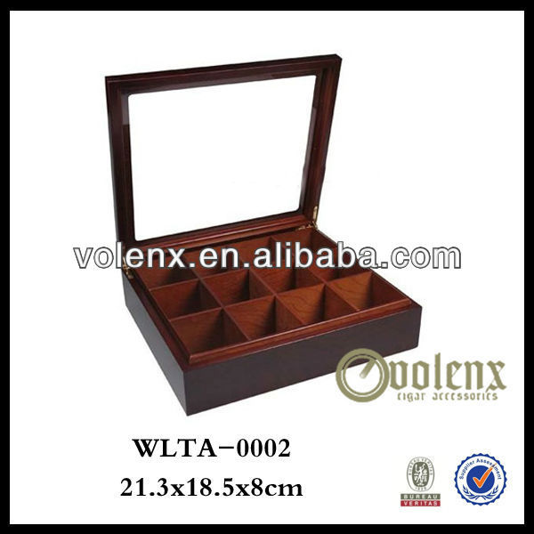 Glass Lid Wooden Tea Chest Boxes Shenzhen 12 Compart Storage(BV&SGS)