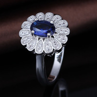 from china sapphire wedding set for couples sunflower ring