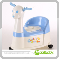 Multifunction plastic deer baby potty with backrest,toilet trainer
