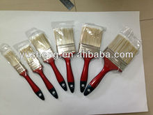 good quality tapered white/gray PET filament mixture/bristle paintbrush with painted dark red wooden handle