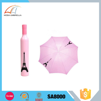 Promotion fashion wine bottle folding umbrella with eiffel tower printed