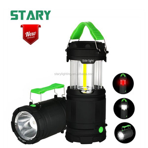 STARY new arrival 7 modes cob led tent lamp lights coleman emergency lantern led camping light with spotlight red warning light