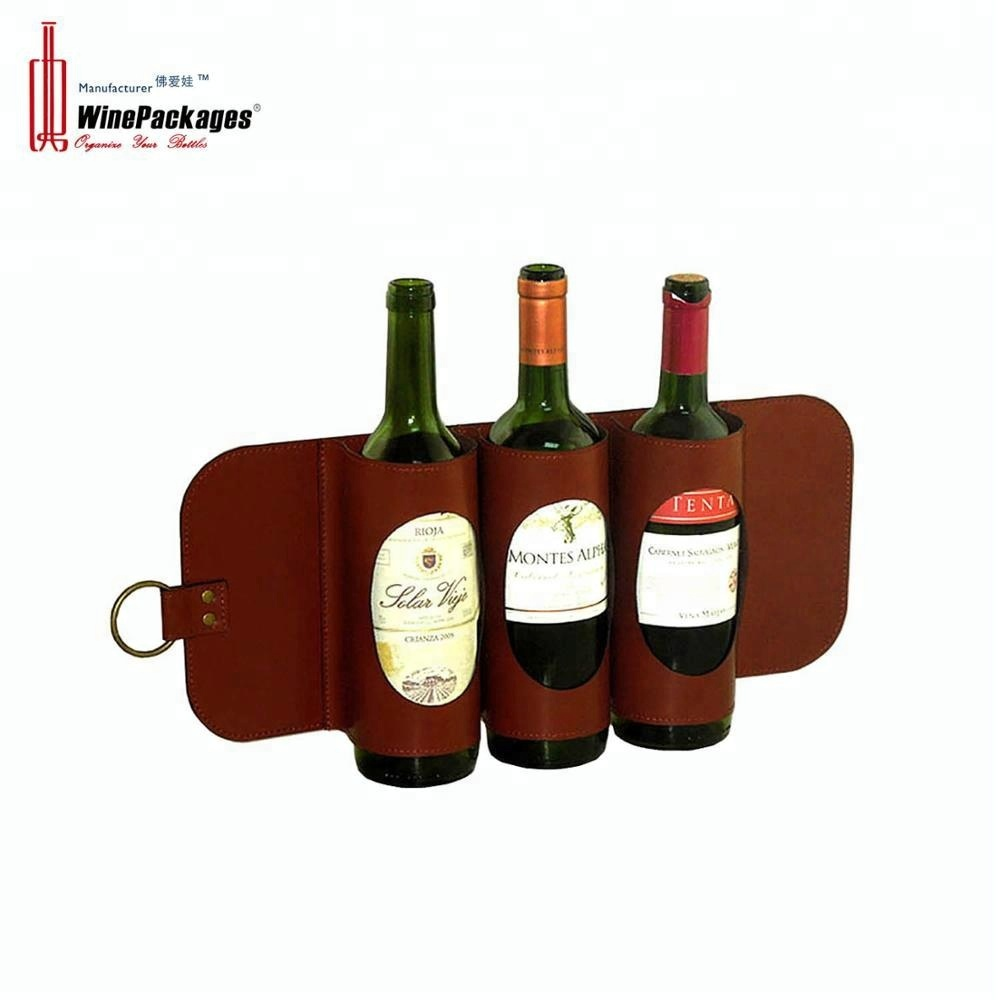 Wholesale home homemade stackable wall mounted faux leather/wooden wine rack