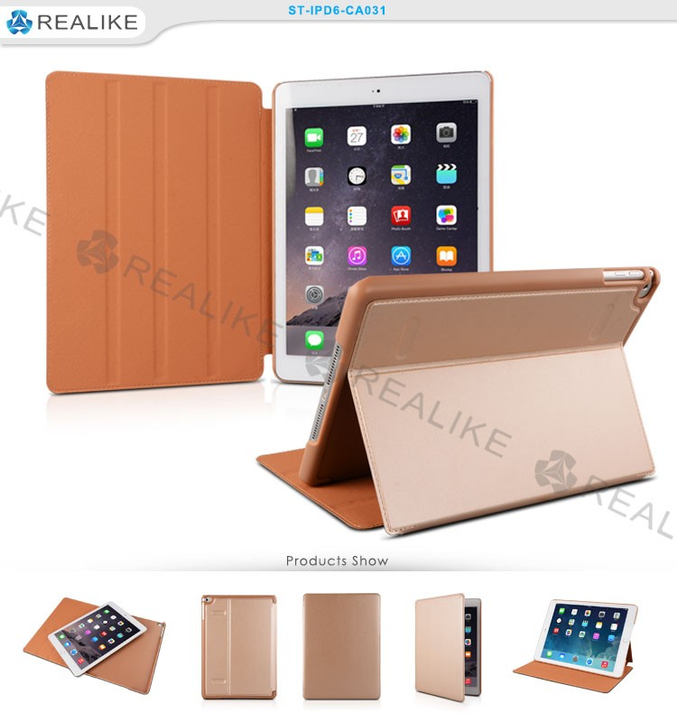 2016 sleep and wake up function smart cover case for ipad air , leather standing tablet pc case for ipad air 2