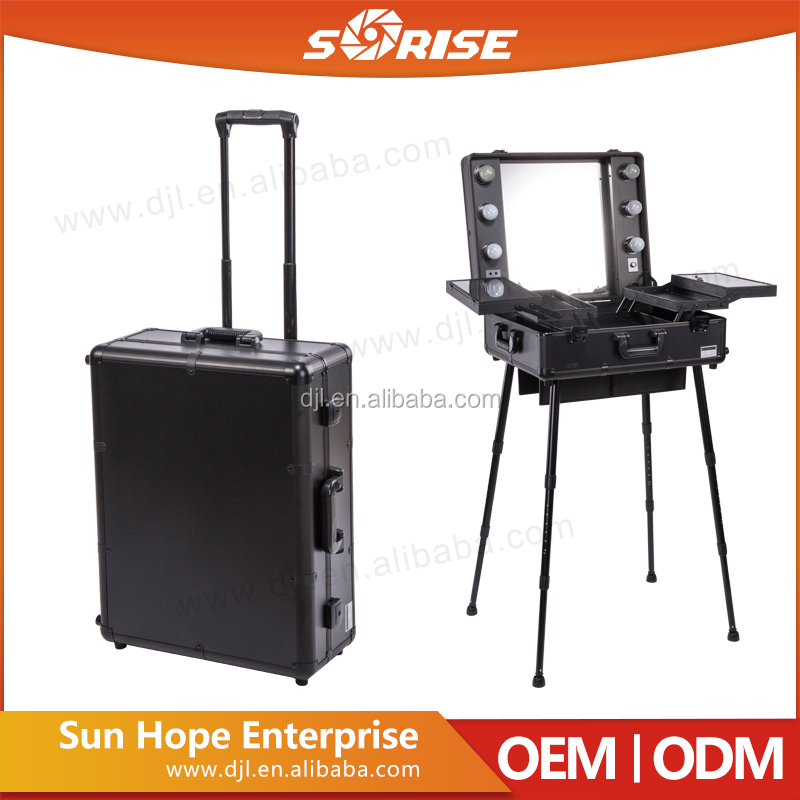2016 Sunrise In Stocks for Amazon Professional Makeup Trolley Case With Lighted Mirror