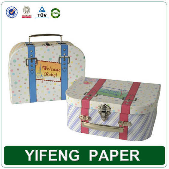 professinal custom made paper cardboard suitcase box with handle for kids toy