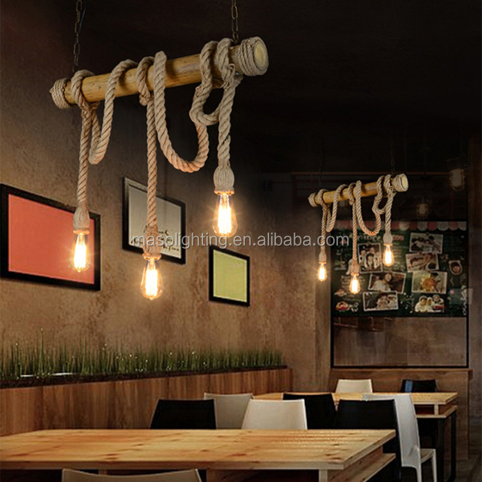 Energy Saving Light Source and Bamboo Material bamboo lamp shades lighting Hemp Rope Three head pendant lamp