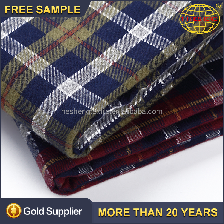 Free sample latest design popular 100% cotton woven textile fabrics wholesale stock check shirting fabric
