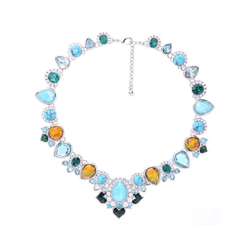Wholesale Elegant Glass Crystal Bright Color Statement Necklace Fashion Imitiation Accessories Costume Jewelry