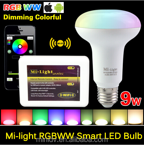 Mi Light Wifi Wireless E27 LED Light Bulb 2.4Ghz Dimmable Smart Lamp Mushroom + RF wireless touch remote controller