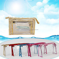 2015 transparent round pvc mini cosmetic bag with zipper