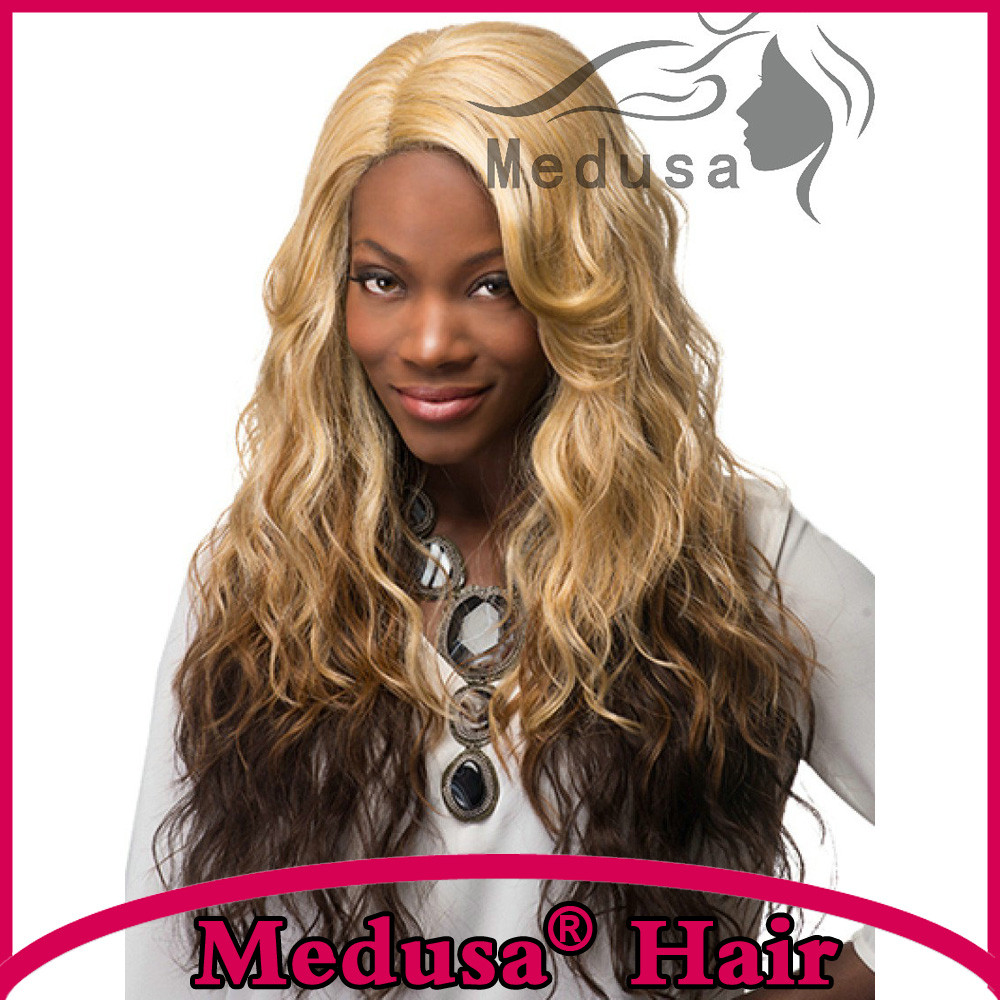 Synthetic Lace Front Wigs Natural Mix Brown Style Long Blonde Wigs For Women Wave Wig Synthetic Hair Wavy SW0240L