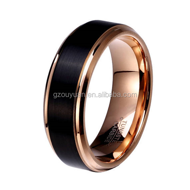 12mm Mens Tungsten Wedding Bands Rose Gold Plated Ring Accept Custom Request