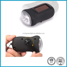 Hand Crank Micro Portable Solar Power 3 LED Mini Flashlight
