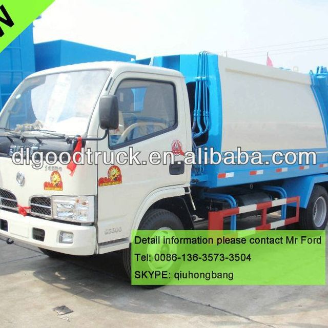 4000L Dongfeng compression garbage truck 4T dustcart 0086-13635733504