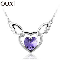 OUXI Wholesale Fashion Jewelry Meaningful Angel Heart Crystal Pendant Necklace