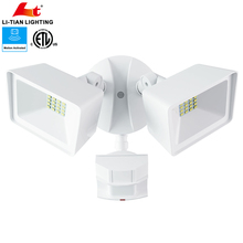 New double-heads ip65 led flood light ETL outdoor led security light with motion sensor
