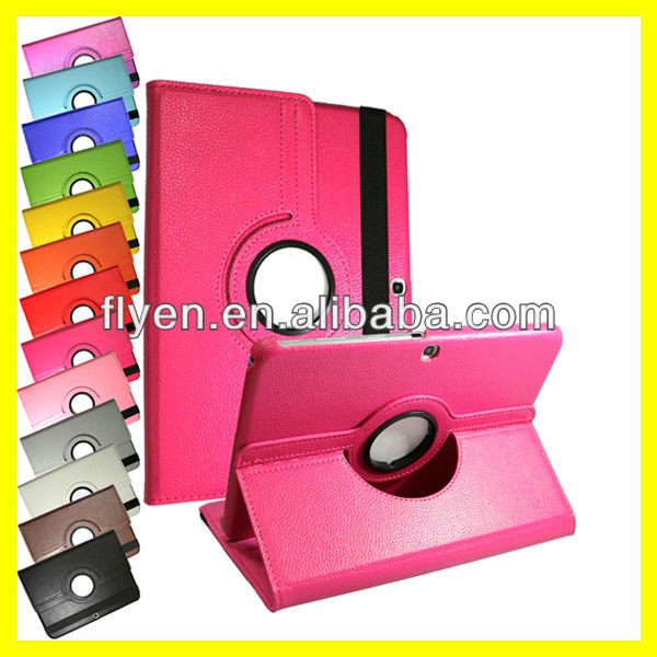 360 Rotating PU Leather Case Cover For Samsung Galaxy Tab 3 10.1 P5210 P5200 Leather Cases Covers New Hot PINK