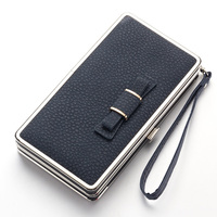 New Design Color Cute Bow Long Hard Mobile Phone Iron Box Clutch Purse PU Leather Ladies Wallet