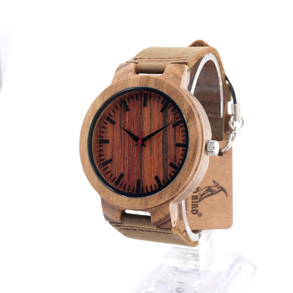 BOBO BIRD 2017 Hot Marketing Mens Fashion waterproof wood watch Leather Bamboo wood watch display case