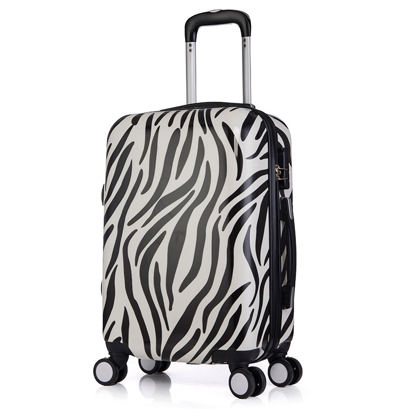 Black and White Color Leopard Print Travel Time Luggage