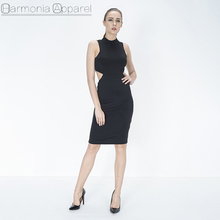 N1217 new design wholesale high quality rayon black back open sexy bandage dress