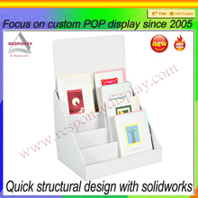 White acrylic greeting cards table display stand for home and retail store