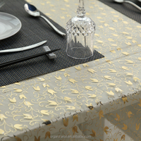 Wide Width Gold Flower Bud Print Organza Table Cloth