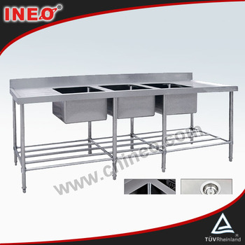 Kitchen Stainless Steel Equipment/ Triple Sink Bench with Pot Shelf