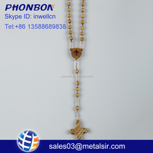 Factory wholesale olive wood beads cross rosary, resin rope cathlolic jesus rosary, wooden rosary