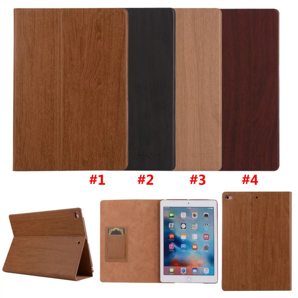 High Quality Wood Pattern Flip Leather Wallet Stand Full Protective Case Cover For iPad Air / Air 2
