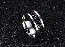 Chain And Unique Spikes Stainless Steel Wedding Ring Made In China