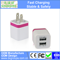 Dual Color Mini Cube US Plug Dual USB Wall Charger Travel Adapter For iPad For iPhone 6 5 5S For Samsung