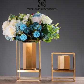 Home decorative metal square luxury flower vase
