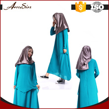AMESIN 2017 Pure Color Fashionable Dress For Fat Women Muslim Chiffon Long Dress