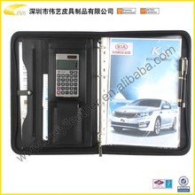 Promotional Durable Fashion Personal Office&School Custom A4 Leather Portfolio Bag With Calculator For Office Folder
