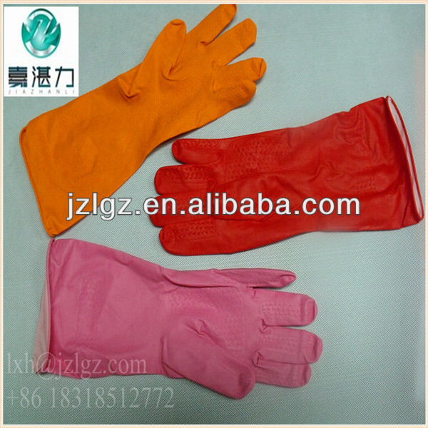 cotton lined yellow cleaning natural latex gloves