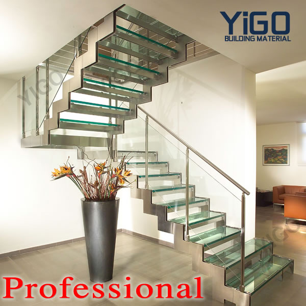 stainless steel stringer staircase \ double stringer stair