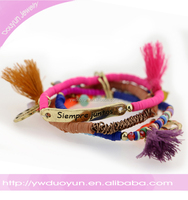 2016 friendship 3 layers customized vinyl bead bracelet