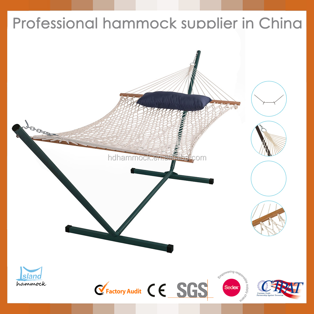 Cotton Rope Hammock with Steel Stand Quilted Polyester Pad and Pillow combo