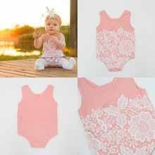 Lace flower baby clothes rompers organic cotton clothes for babies newborn girl Chinese supply