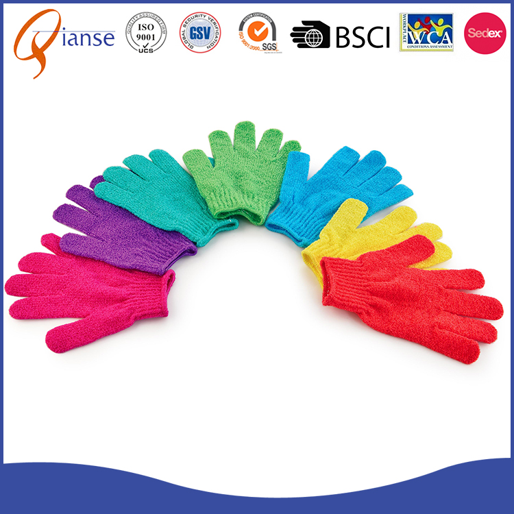 2017 new design cheap price Nylon material exfoliating bath gloves