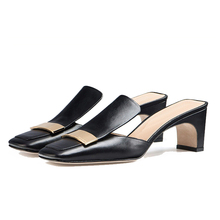 reasonble factory women leather latest design slipper sandal mules shoes