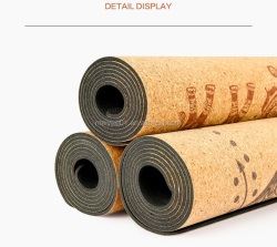 Printed cork surface natural rubber backing yoga Mat
